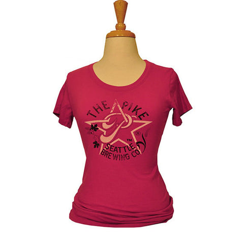 Women's Short Sleeve T-Shirt: Star P — FRONT (In Watermelon)