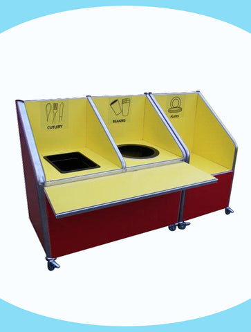 Juniors - Double Recycle Unit - 1 x 72ltr bin, 1 cutlery container and plates section
