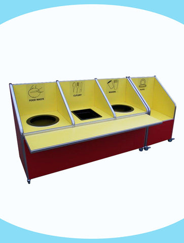 Juniors - Triple Recycle Unit - 2 x 72ltr bins, 1 cutlery container and plates section