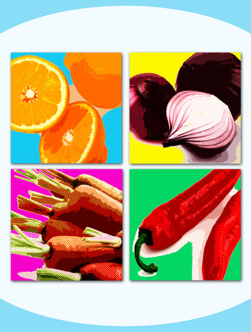 Secondary Square Wall Art - Pop Art Food