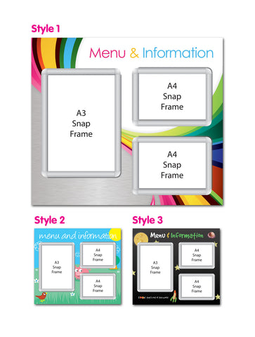 Primary 800x700mm A4 & A3 Multi-frame Menu Board