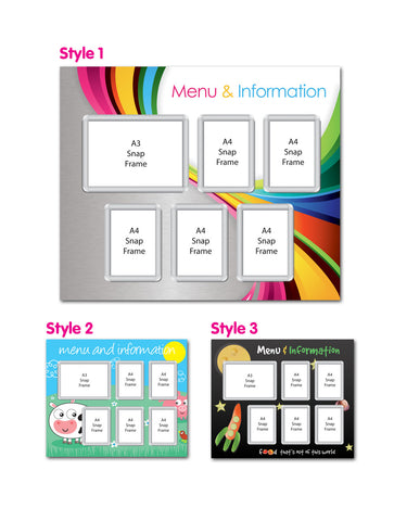 Primary 1200x1000mm A4 & A3 Multi-frame Menu Board