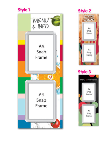 Secondary 350x900mm A4 Multi-frame Menu Board