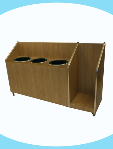 Seniors - Triple Recycle Unit - 3 x 118ltr Bin with Tray Return