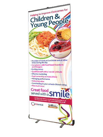 Roll Up Banner - 800mm Wide - Promoting School Meals