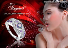 Load image into Gallery viewer, Oval Heart Cut Design Multicolor & Purple White CZ Silver  Ring