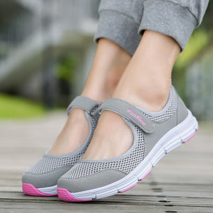 Summer Breathable Women Sneakers Healthy Walking Shoes Outdoor Mesh Antislip Sport Running Shoes Mother Gift Comfort Light Flats