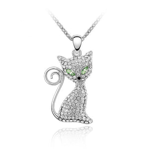 Cat Necklaces neckless Gold Color Rhinestone Crystal Cute Lovely Pendant