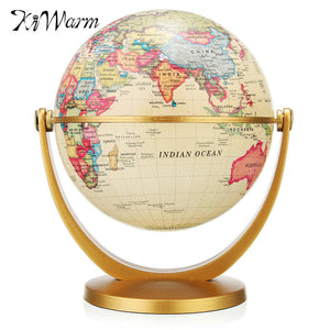 KiWarm Vintage World Globe Earth Map with Stand Antique Desktop Decorative World Geography Educational Home Office Decor