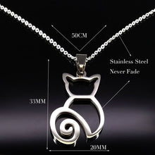 Load image into Gallery viewer, Stainless Steel Tiny Cat Pendant Necklace