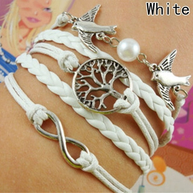 Handmade Bird Bracelet Multilayer Leather Infinity Bracelets Jewelry Braid Bracelets