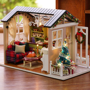 DIY Christmas Miniature Dollhouse Kit  vintage home decoration accessories modern Mini 3D LED Wooden House Room Children's Gift