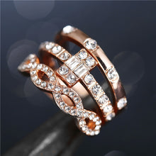 Load image into Gallery viewer, 3Pcs/Set Fashion Geometry Intersect Crystal Rings