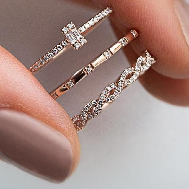3Pcs/Set Fashion Geometry Intersect Crystal Rings