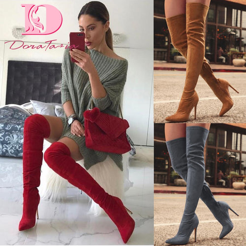 DoraTasia brand new women shoes woman boots large size 31-43 autumn over the knee boots thin high heels shoes sexy party boot