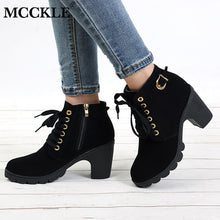 Load image into Gallery viewer, MCCKLE Plus Size Ankle Boots Women Platform High Heels Buckle Shoes Thick Heel Short Boot Ladies Casual Footwear Drop Shipping