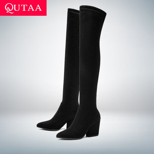 QUTAA 2019 Women Over The Knee High Boots Hoof Heels Winter Shoes Pointed Toe Sexy Elastic Fabric  Women Boots Size 34-43