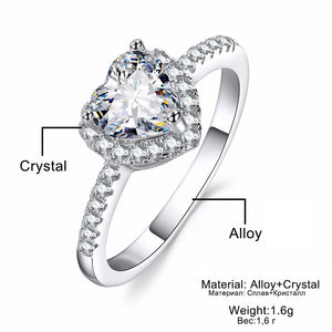 Fashion Crystal Heart Shaped Wedding Rings Women's