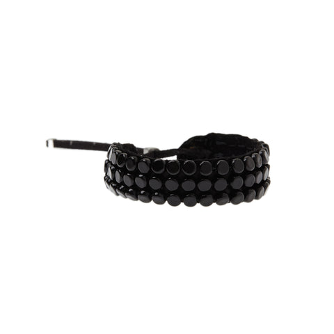 Adjustable Round Beaded Leather Bracelet - BLACK