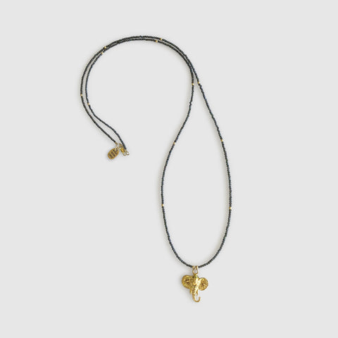 Uwazi Long Necklace With Elephant [ cats eye ]