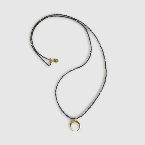 Uwazi Long Necklace With Moon [ cats eye ]