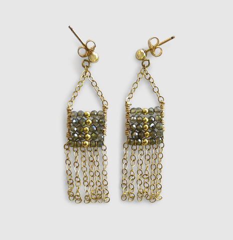 Uwazi Pendant Earring With Chain Tassels [ cats eye ]