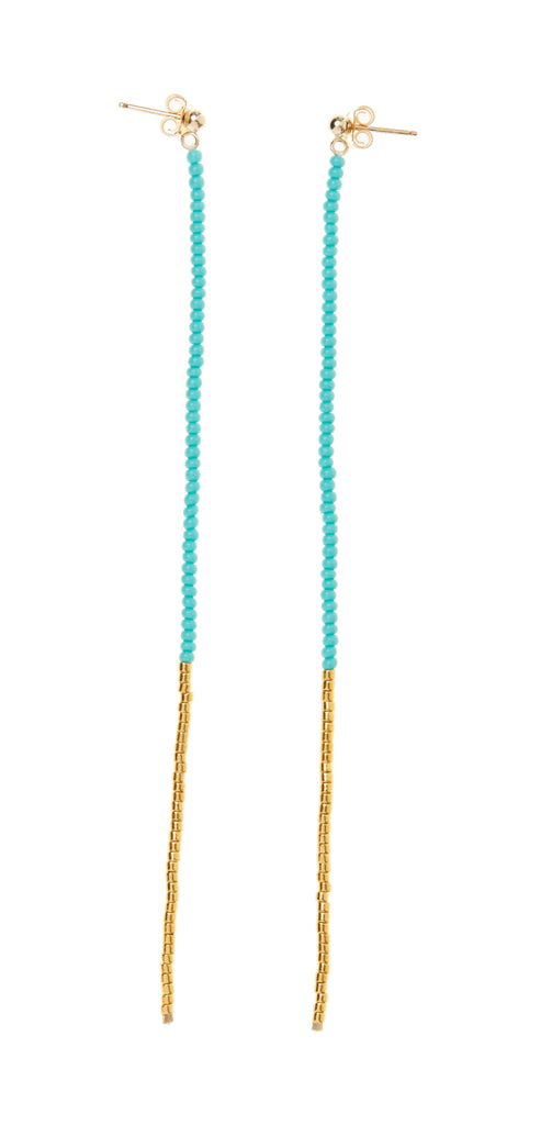 Long Drop Earring - TURQUOISE/GOLD