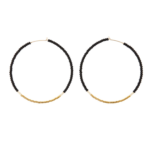 Large Hoop Earrings - BLACK/CREAM/GOLD