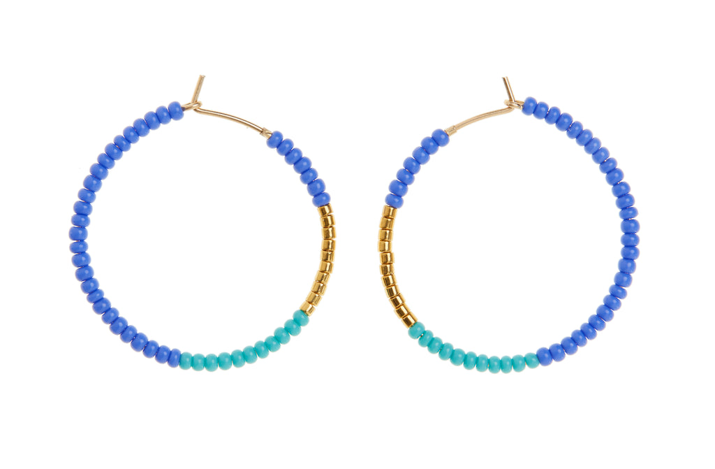 Small Hoop Earrings - CORNFLOWER BLUE