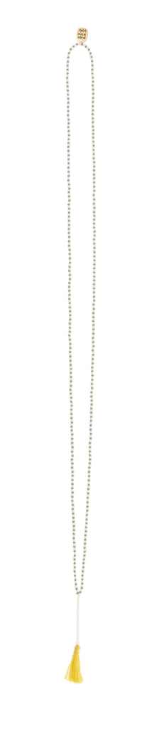 Endito Zebra Tassel Necklace - GREY