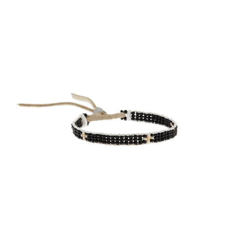 XS Cross Warrior Bracelet - BLACK/CREAM/GOLD