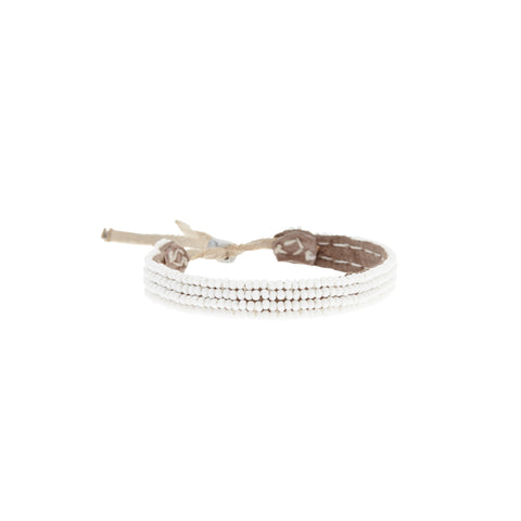Adjustable Leather Bracelet - WHITE
