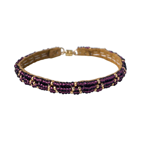 3 Dot Triangle XS Leather Bracelet - AUBERGINE