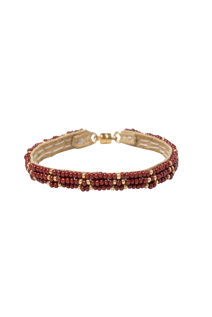 3 Dot Triangle XS Leather Bracelet - BURGUNDY