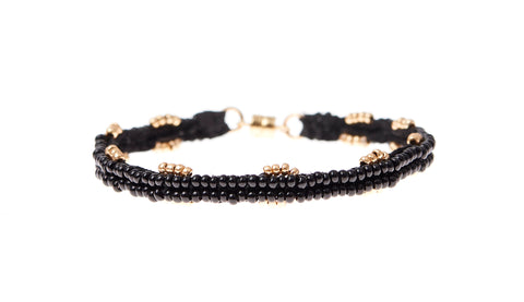 4 Bead Line XS Leather Bracelet