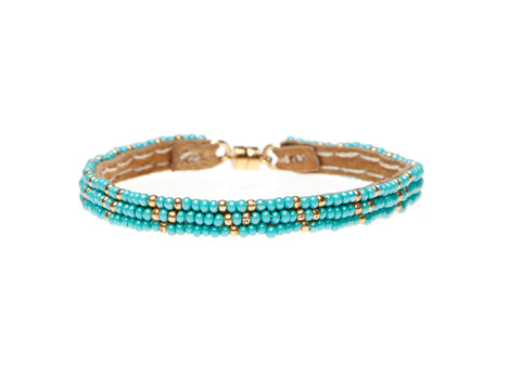 3 Dot Triangle XS Leather Bracelet - TURQUOISE
