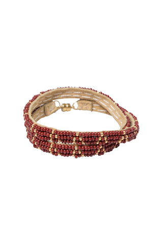 3 Dot Triangle XS Double Wrap Bracelet - BURGUNDY