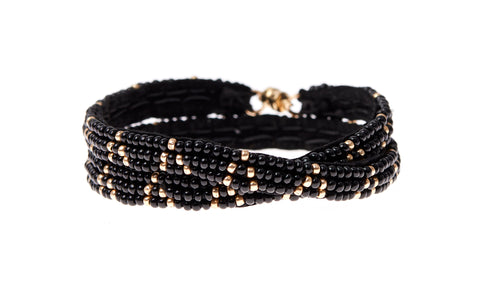 3 Dot Triangle XS Double Wrap Bracelet- BLACK