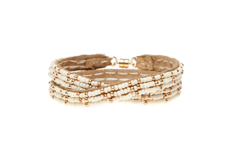 3 Dot Triangle XS Double Wrap Bracelet- OFF WHITE