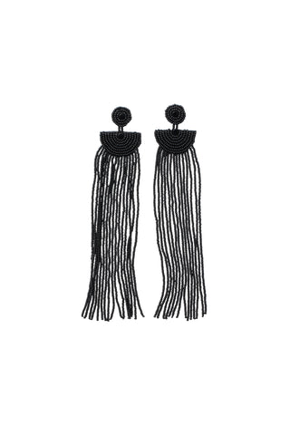 Kifungo Long Tassel  Earrings - BLACK