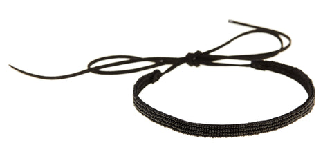 Thin Leather Choker - BLACK