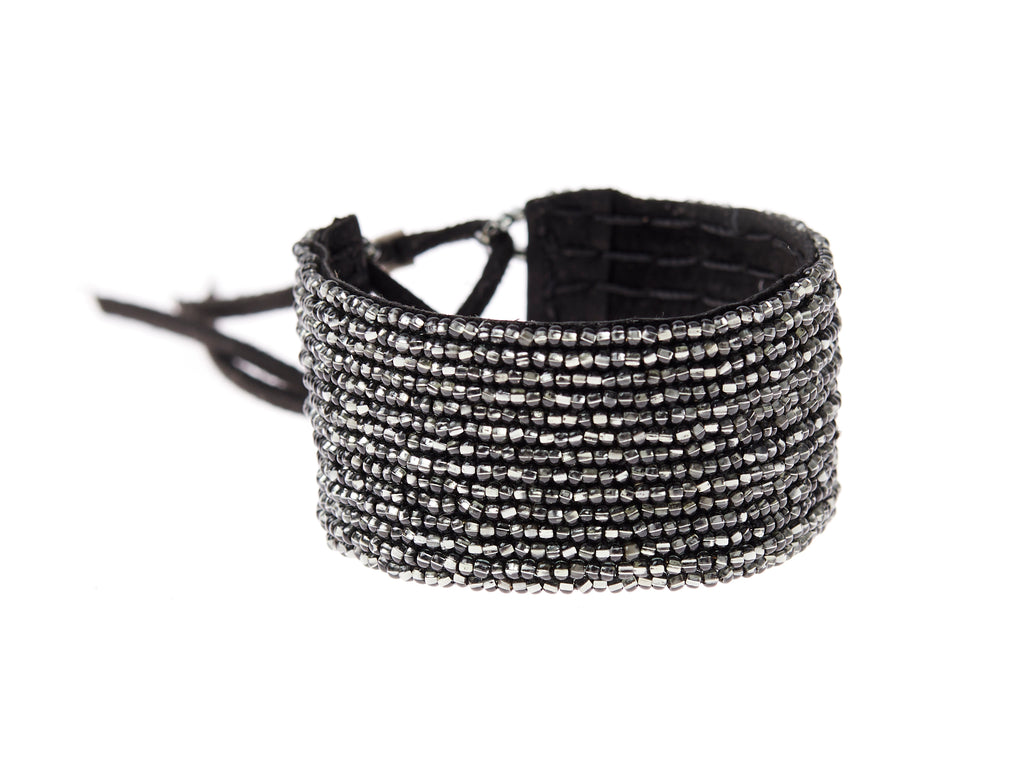 Narrow Leather Simple Bracelet Cuff - SHINY GRAPHITE