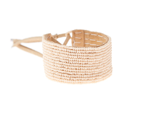Narrow Leather Simple Bracelet Cuff - PINK