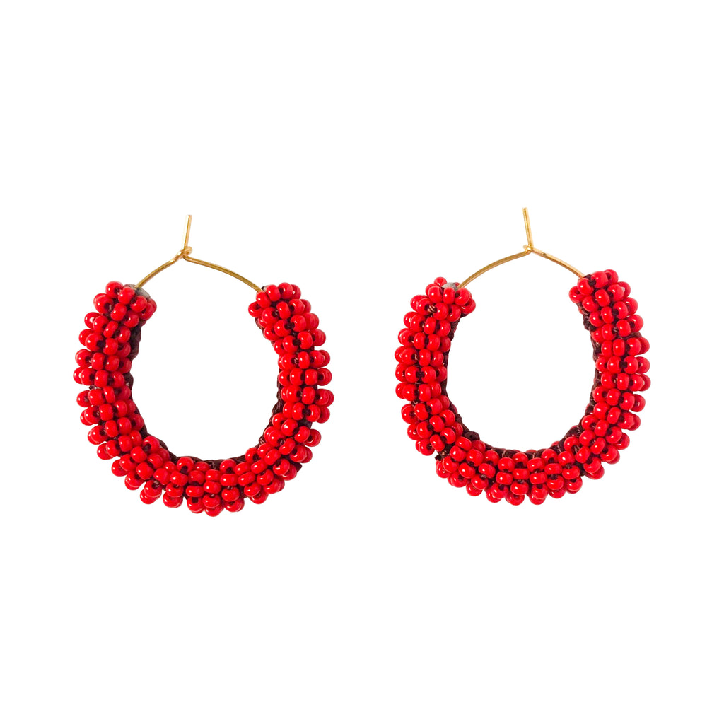 Small Jongoo Earrings - RED