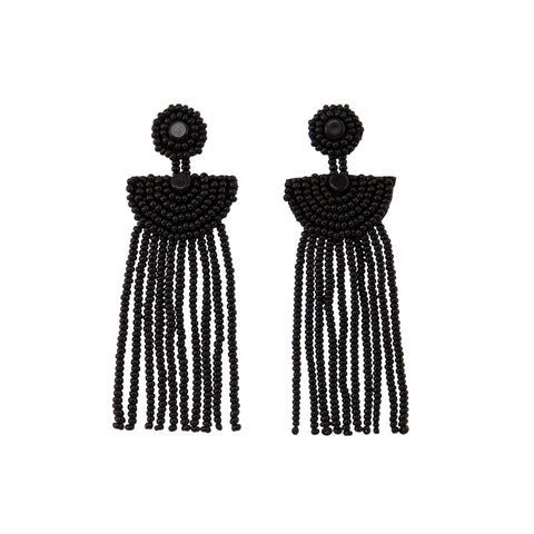 Small Kifungo Tassel Earrings - BLACK
