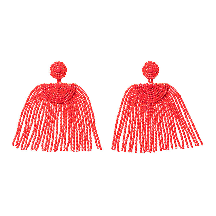 Kifungo Short Tassel Earrings - RED