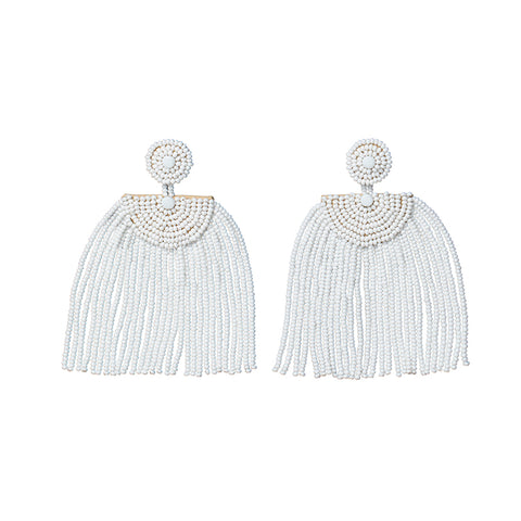 Kifungo Short Tassel Earrings - WHITE