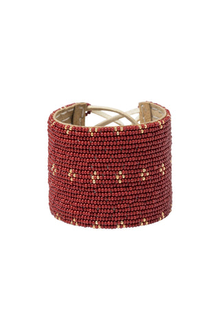 Wide 3 Dot Triangle Leather Bracelet - BURGUNDY