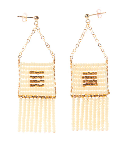 Pendant Earring with Beaded Tassels - OFF WHITE