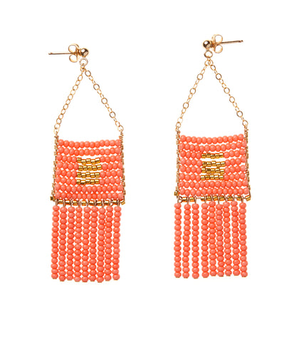 Pendant Earring with Beaded Tassels - SALMON